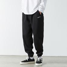 TES 日系运le4灰色卫裤nd牌黑色加绒加厚束脚裤休闲宽松裤子