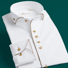 复古温le领白衬衫男hi商务绅士修身英伦宫廷礼服衬衣法式立领