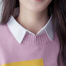 韩款娃le女百搭衬衫lu衬衣领子春秋冬季装饰假衣领子
