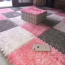 四季通le拼接绒面网on拼图卧室满铺地板垫榻榻米机洗