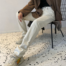 175le个子加长女ia裤新式韩国春夏直筒裤chic米色裤高腰宽松