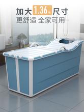 宝宝大le折叠浴盆浴ia桶可坐可游泳家用婴儿洗澡盆