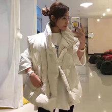 马甲背le女秋冬韩国en领保暖百搭蓬蓬羽绒面包服短式棉衣外套