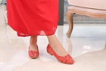 婚鞋中le绣花刺绣低eo秀禾鞋新娘鞋结婚鞋红鞋旗袍鞋婚鞋女