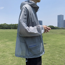 夏季薄le透气防晒衣gb潮流连帽机能工装夹克港风宽松运动外套