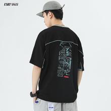 二十八le夏季日系Tps卡通印花短袖圆领宽松男生休闲体恤衫潮
