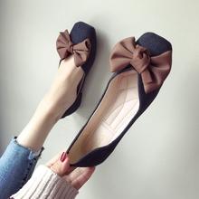欧美风2021春夏季新款女鞋子大le13蝴蝶结ou头平跟平底单鞋