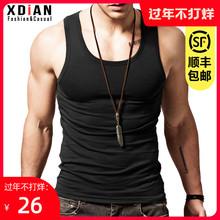 纯棉背le男士运动健jr修身型打底弹力夏季无袖跨栏内穿潮汗衫
