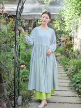 照本堂le染棉麻布衣ou式传统风尚女士收绉连衣裙W31017