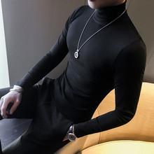 春式男le纯色打底衫am青年T恤修身中领抓绒秋衣百搭上衣潮流