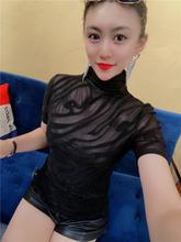 欧洲站le秋新式女装am0高领短袖女性感打底衫高档女士洋气(小)衫潮
