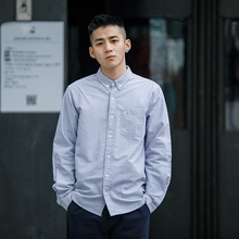 BDCle 日系复古am长袖衬衫男 纯色青年基础式口袋潮