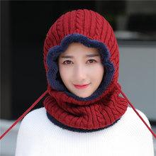 户外防le冬帽保暖套qu士骑车防风帽冬季包头帽护脖颈连体帽子