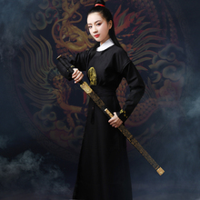 古装汉le女中国风原et素学生侠女圆领长袍唐装英气
