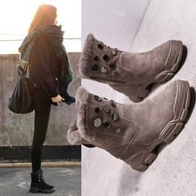 潮牌真皮le1地鞋女2et款韩款冬季中筒加绒加厚棉鞋铆钉增高短靴