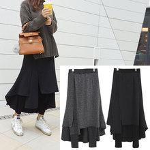 不规则le长裙加绒加pr件打底裤裙裤女外穿2020秋冬季新式韩款