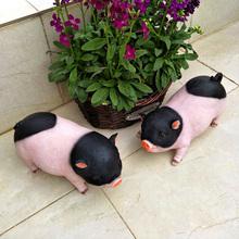 花园装le 庭院摆件re品(小)猪模型树脂工艺品动物仿真猪摆件