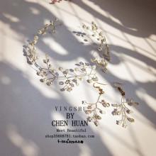 韩式手le串珠新娘礼re森系超仙女耳环结婚套装旅游度假发饰品