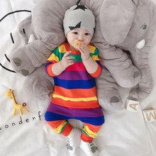0一2le婴儿套装春re彩虹条纹男婴幼儿开裆两件套十个月女宝宝