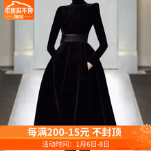欧洲站le020年秋re走秀新式高端女装气质黑色显瘦丝绒潮