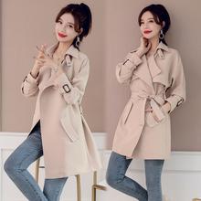 202lf流行外套女an式女装风衣女中长式韩款今年风衣女减龄潮酷