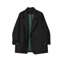 Deslfgner ans 黑色(小)西装外套女2021春秋新式OL修身气质西服上衣