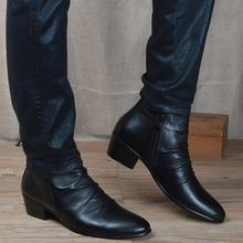男士韩lf潮流皮靴英xw头短靴内增高中帮男靴子马丁靴高帮皮鞋