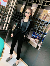 202lg春装黑色金ao棉边(小)西装休闲裤两件套时尚显瘦套装女装潮