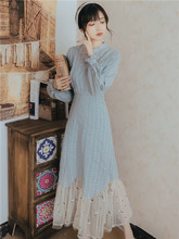 春夏2lg21新式复ao年轻式改良长裙仙女长袖修身显瘦连衣裙
