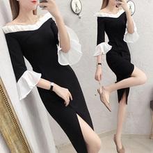 一字肩lg衣裙女长式qt020年新式显瘦性感年会礼服裙子平时可穿