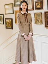 法式复lg少女格子学oo衣裙设计感(小)众气质春冷淡风女装高级感