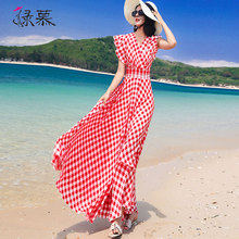 绿慕雪lh连衣裙女格aa21夏装新式荷叶边短袖长式修身显瘦沙滩裙