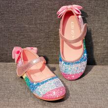202lh冰雪奇缘艾aa鞋高跟鞋女童宝宝软底彩虹水晶舞蹈表演单鞋