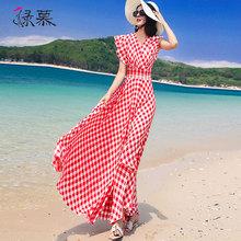 绿慕雪lh连衣裙女格st21夏装新式荷叶边短袖长式修身显瘦沙滩裙