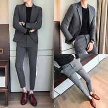 春装男士韩版修身西服两件