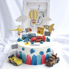 赛车总li员蛋糕装饰mi机热气球云朵旗子男孩男生生日蛋糕插件