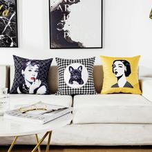 insli主搭配北欧ng约黄色沙发靠垫家居软装样板房靠枕套