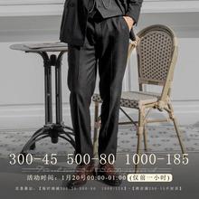 SOAliIN英伦风re纹西裤男 英式绅士商务正装直筒宽松西服长裤