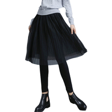 大码裙li假两件春秋ei底裤女外穿高腰网纱百褶黑色一体连裤裙