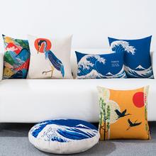 日式花li富士山棉麻ua古客厅沙发汽车靠背床头办公室靠腰枕