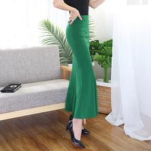 春装新li高腰弹力包ng裙修身显瘦一步裙性感鱼尾裙大摆长裙夏