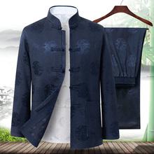 爸爸唐li男套装中老an季加绒棉衣袄外套老的生日过寿爷爷冬装