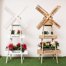 田园创li风车花架摆po阳台软装饰品木质置物架奶咖店落地花架