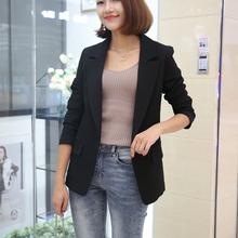 (小)西装li套女202an新式韩款修身显瘦一粒扣(小)西装中长式外套潮