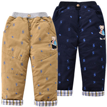 中(小)童li装新式长裤un熊男童夹棉加厚棉裤童装裤子宝宝休闲裤