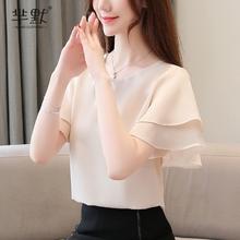 雪纺衫短袖女2021夏装新式女装韩款li15松显瘦eu气衬衫潮衣