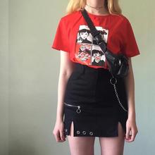 黑色性li修身半身裙eu链条短裙女高腰显瘦修身开叉百搭裙子夏