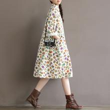 春装新li印花连衣裙sa风韩款大码宽松长袖中长式棉麻衬衫裙子