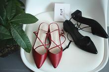 阿Q哥li 春夏尖头sa鞋 绑带单鞋罗马粗跟中跟女鞋 包头凉鞋女