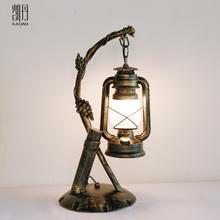 美式复li仿古马灯创sa酒店卧室书房床头茶台室装饰台灯
